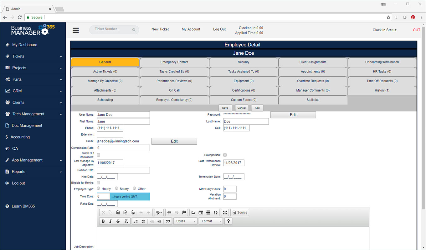 Business Manager 365 HR employee screen