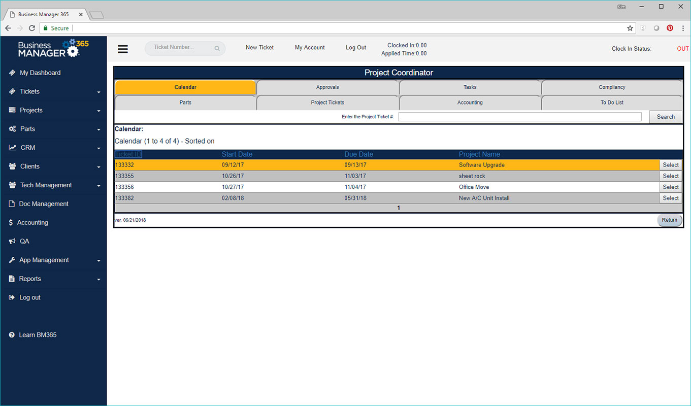 Business Manager 365 project coordinator screen
