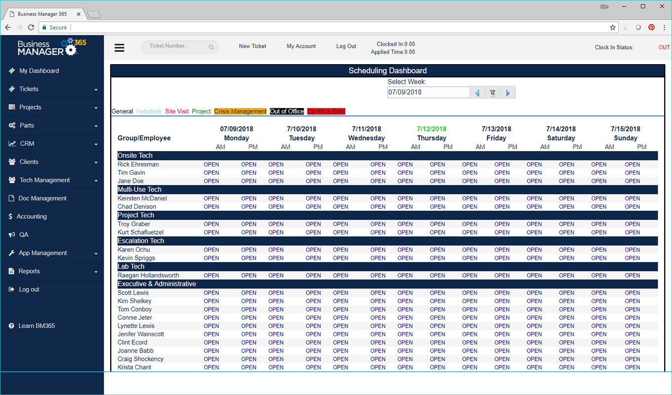 Business Manager 365 scheduling dashboard screen
