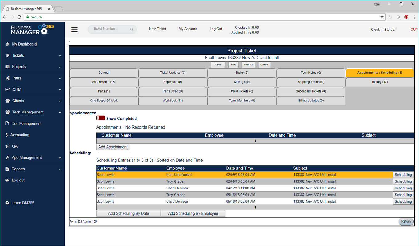 Business Manager 365 tickets and appointments screen