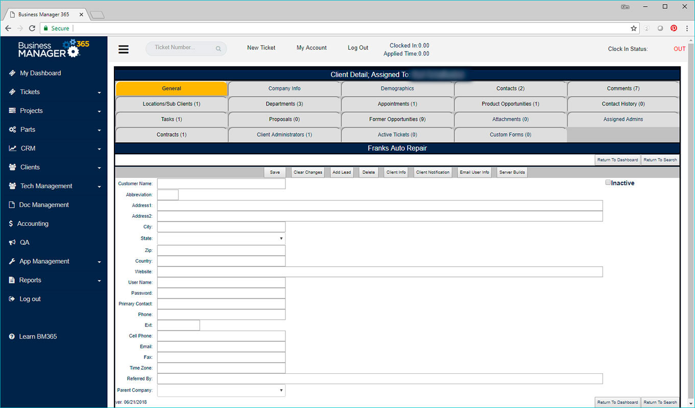 Business Manager 365 client data screen