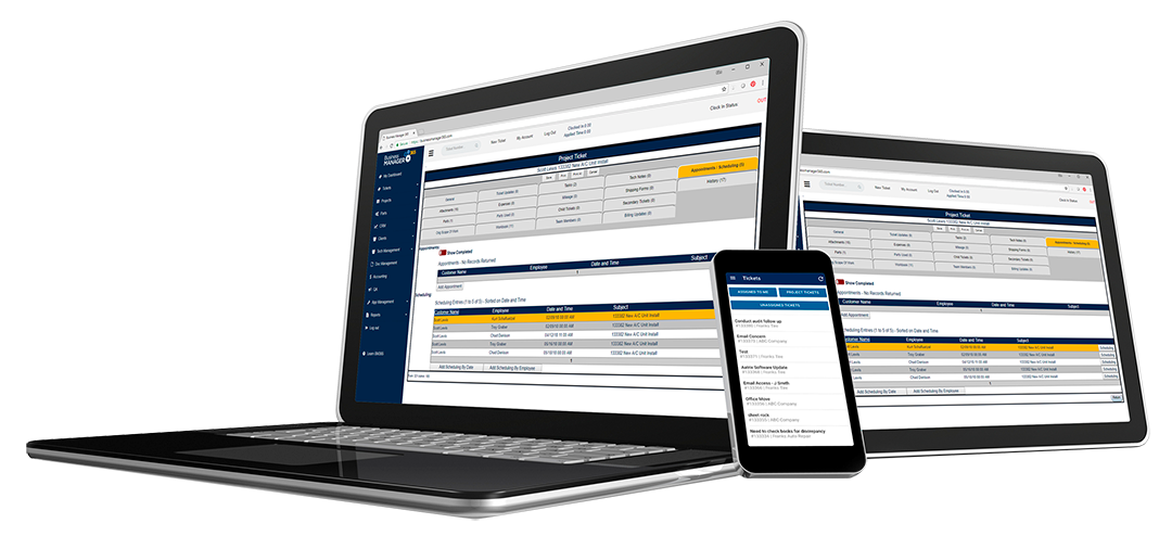 Business Manager 365 service industry software shown on laptop, tablet and phone